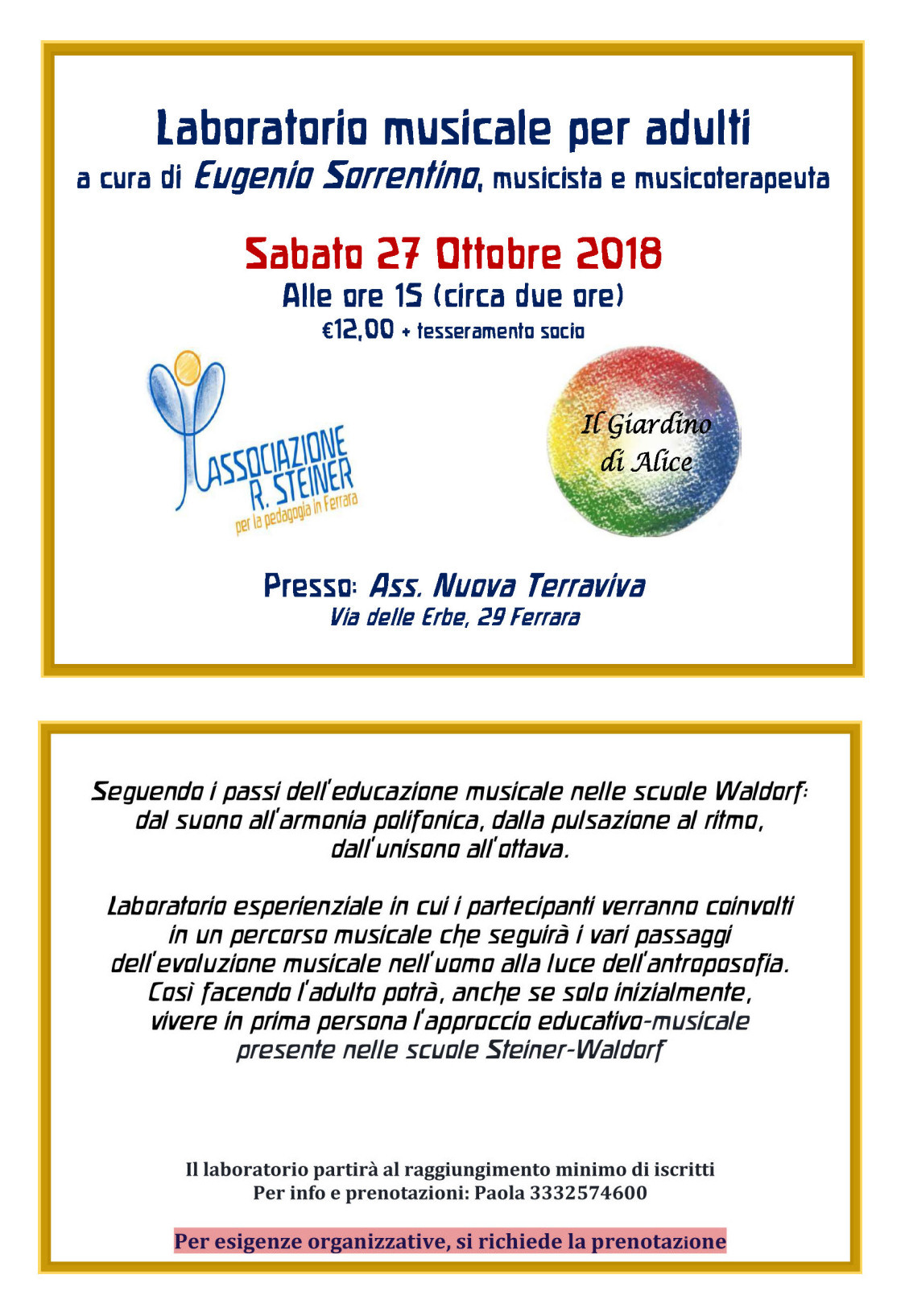 Laboratorio musicale per adulti @ Associazione Nuova Terraviva | Ferrara | Emilia-Romagna | Italia